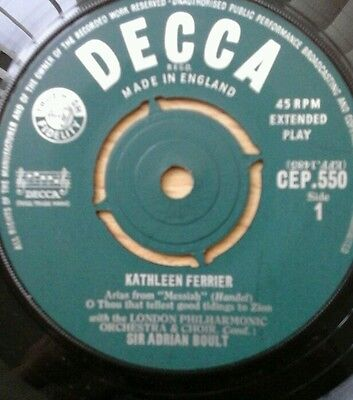 """Kathleen Ferrier Arias From Messiah  7"""" Single . Great Condition . Cep. 550"""