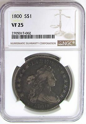 """1800 Early Silver Dollar """"Draped Bust"""" NGC VF 25"""