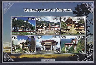 Bhutan 2015 Monasteries Souvenir Sheet Of 6 Stamps In Mint Mnh Unused Condition