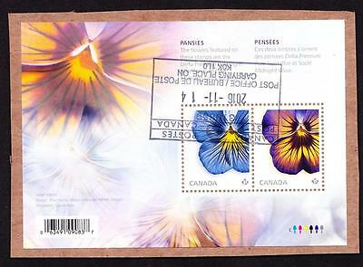 Canada 2015 souvenir sheet used sc# 2809 Pansies