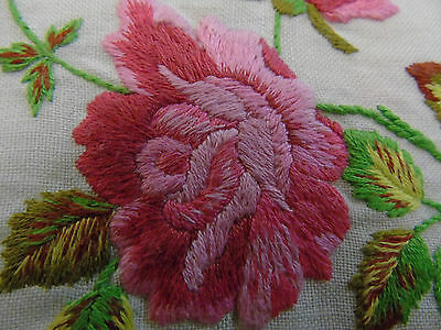 """Vintage Hand Embroidered Table Cover 29"""" x 30"""""""
