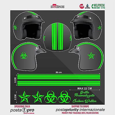 Kit VERDE FLUO Biohazard Stella STICKER CASCO ADESIVO DECAL MOTO SCOOTER HELMET