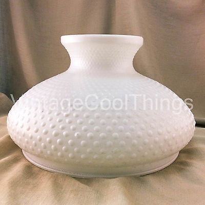 Vtg White Milk Glass Hobnail Hurricane Oil Kerosene Lamp Shade Light Fixture