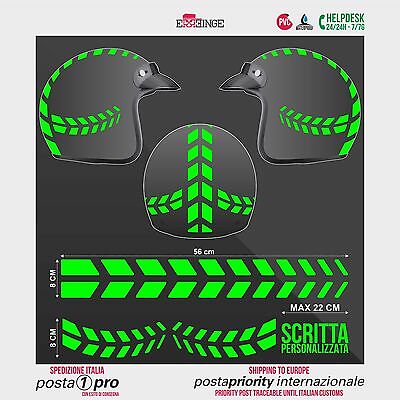 Kit VERDE FLUO Frecce Strisce STICKER CASCO ADESIVO DECAL MOTO SCOOTER HELMET