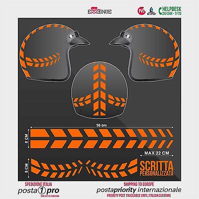 Kit ARANCIO FLUO Frecce Strisce STICKER CASCO ADESIVO DECAL MOTO SCOOTER HELMET
