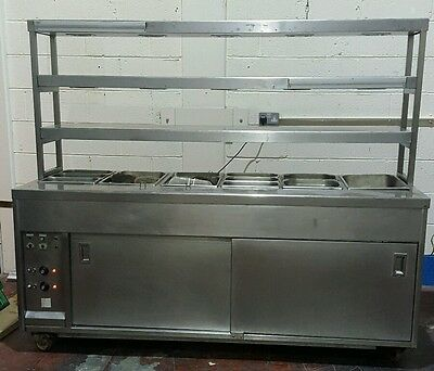 Stainless Steel Bain Marie With Heated hot Cupboard And Serving Gantry