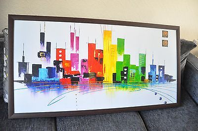 Massive Wooden Framed Abstract Painting Hand Oil canvas Modern Art Home Decor 48