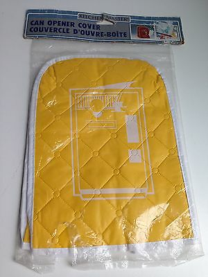 Vintage Can Opener Cover Vinyl Quilted Yellow NEW IN PKG!