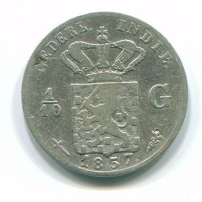 1857 Netherlands East Indies 1/10 Gulden Silver Colonial Coin Nl13154#3