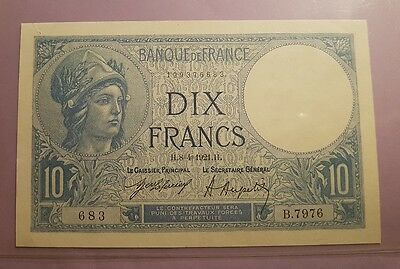 Billet 10 Francs type Minerve, 8 avril 1921