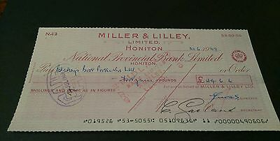 National provincial bank cheque Honiton miller & lilly  1969 (8x4)