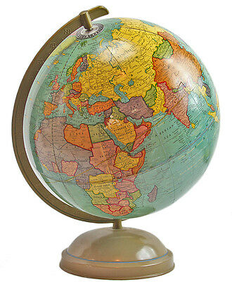 "VINTAGE CRAM'S Universal 12"" Terrestrial WORLD GLOBE ATLAS MAP - COLORFUL"