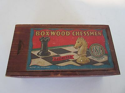 """Vintage Boxed Wooden TSL """"Staunton"""" Chess Set - Made in France"""