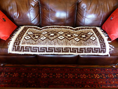 """Price Reduced GREEK Wool Rug - Brown and Cream 24"""" x 48"""" - Athens SHIPS TODAY"""