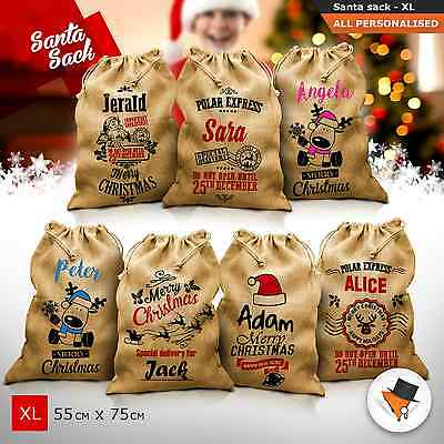 Extra Large Christmas Santa Sacks Hand Made Jute Sack Bag Xmas Personalised