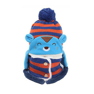 Toddler Girls Boys Baby Winter Beanie Warm Hat Hooded Scarf Knitted Wool Cap