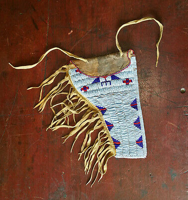 Vintage Native American SIOUX Indian Seed Beaded Brain Tanned Gun Pistol Holster