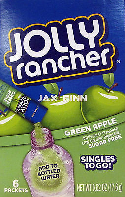 4 Pack - Jolly Rancher® SUGAR FREE Singles To Go Drink Mix: Green Apple,6 count