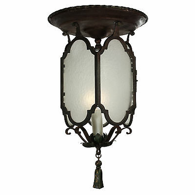 Antique Flush Mount Tudor Lantern with Original Glass, Early 1900s, NC2555