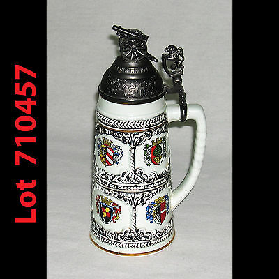 Vintage German Style Lidded Artillery Regimental Beer Stein with Cannon 710457