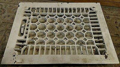 Antique Cast Iron white Floor Heat Register/Vent/Grate w/Dampers- 11.5x8.5