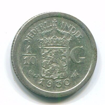 1930 Netherlands East Indies 1/10 Gulden Silver Colonial Coin Nl13458#3