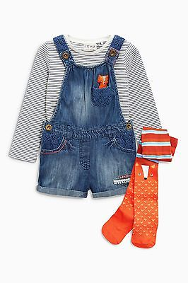 Next A/w 2016 Denim Fox Character Dungaree Set Age 3 ~ 4 Yrs Bnwt