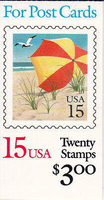 U.S. BOOKLET OF 20 SCOTT #BK170 1990 15ct BEACH UMBRELLA MINT P#111111