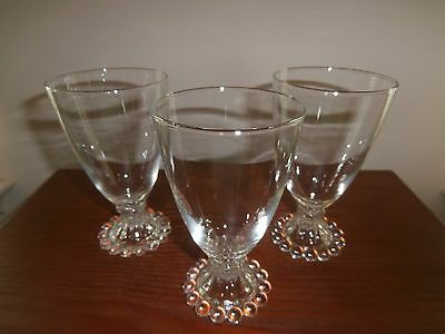 """3 Vintage Candlewick Imperial beaded, clear 5-1/2"""" beverage glasses"""