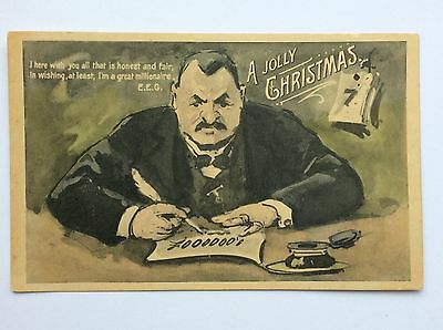 vintage postcard, Political satire, Jolly Christmas, Greed, early