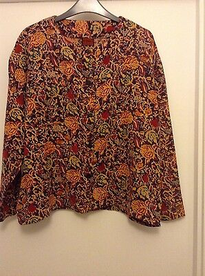 Vintage colourful ANOKHI long sleeved cotton shirt top, size 12 (fits 10-12)