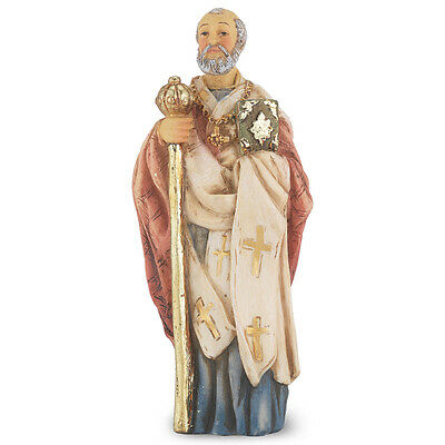 Statue St Nicholas Myra 4 inch Painted Resin Figurine Patron Saint Catholic Box