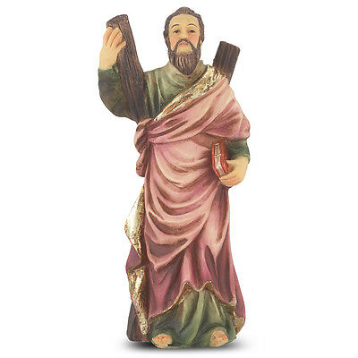 Statue St Andrew 4 inch Painted Resin Figurine Patron Saint Catholic Card Boxed