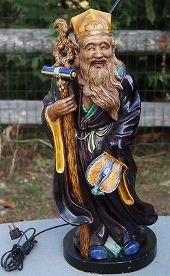 "Large Chinese Pottery Figure of an Immortal Statue - Lamp, 41"" Tall"