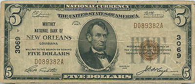 1929 $5 The Whitney National Bank of New Orleans Louisiana  Nat. Currency Fine