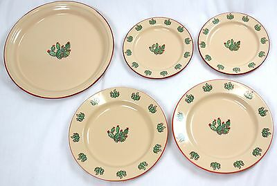 Lot of 5 Marble Canyon Cactus Plates Salad, Dinner, Platter Enamelware