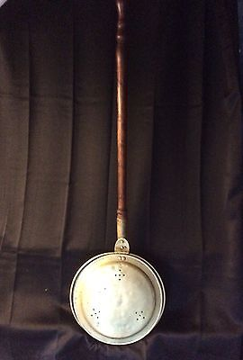 Antique 19th C Brass & Copper Bed Warmer Long Wooden Handle