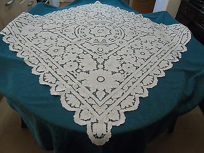 """Vintage Hand Embroidered Table Cover, 50"""" x 50"""" approx"""