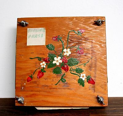 """VINTAGE AWESOME WOOD SQUARE DRIED FLOWER PRESS w CARDBOARD BLOTTING PAPER 7.5"""""""