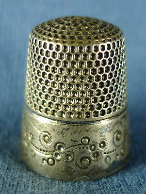 c. 1890s Sterling Silver MK&D Sewing Thimble, Size 9, 6 Grams
