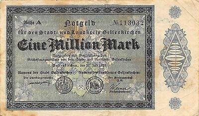 Germany 1 Million  Mark  Notgeld  21.7.1923 Reihe A  circulated Banknote 2D2