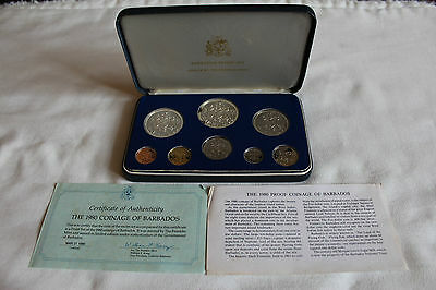UNC Barbados Coin Proof Set 1980 Franklin Mint - $10 & $5 Silver