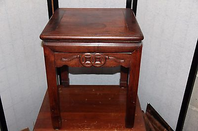 Antique Estate Chinese TABLE Display Stand Hand Carved Wood Furniture OLD TAG