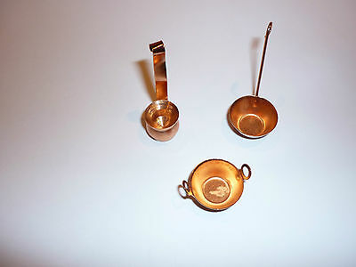 Dolls House Set Of Three Copper Pots 12Th Scale New