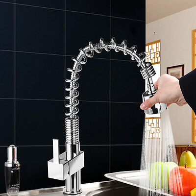 Modern Monobloc Kitchen Tap Swivel Pull Out Spout Mixer Chrome Brushed Faucet UK