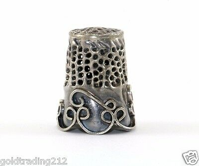 Vintage Antique Handcrafted Scroll Design Sewing Thimble 800 Silver Ot 14