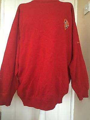 Red Wool Pringle Jumper - Made In Scottish - Irish Golf Crest