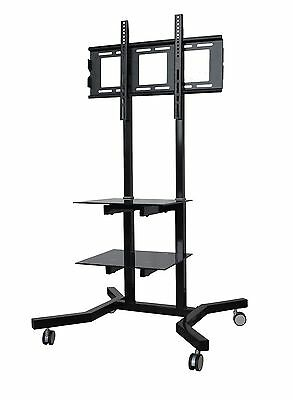 TV trolley stand for 32 - 65 inch Plasma LCD LED screens with 2 shelves castors