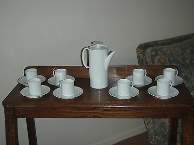 Classic White Thomas Coffee Pot And Eight Coffee  Cups And Saucers