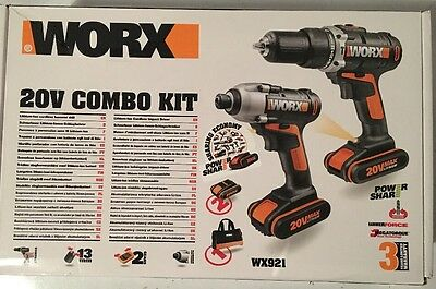Worx 20v Twin Pack Drill And Impact Driver wx921 Combo Kit With TWO BATTERIES
